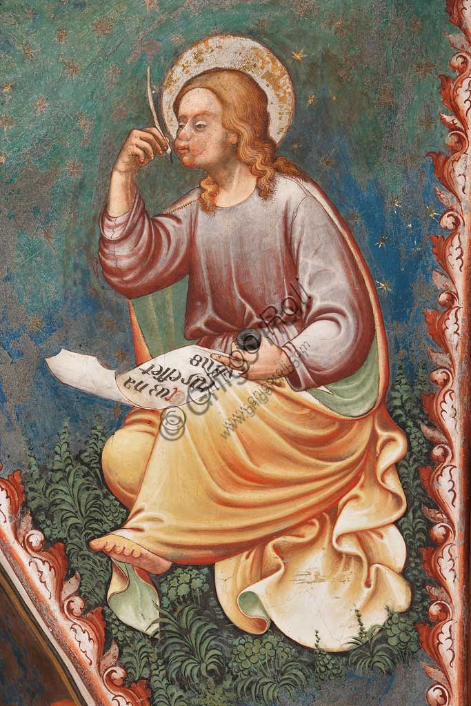 "Rocca di Vignola, Cappella Contrari, parete meridionale: ""L'Evangelista Matteo"" che scrive ""Cum natus esset Yhesus"", affresco del Maestro di Vignola, anni Venti del Quattrocento."