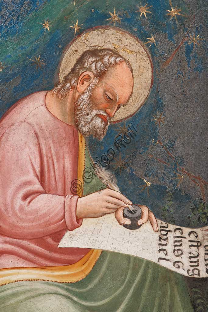 "Vignola Stronghold, the Contrari Chapel, Northern wall: ""St. Luke Evangelist"", writing "" Missus est angelus Gabriel"". Fresco by the Master of Vignola, about 1420. Detail."