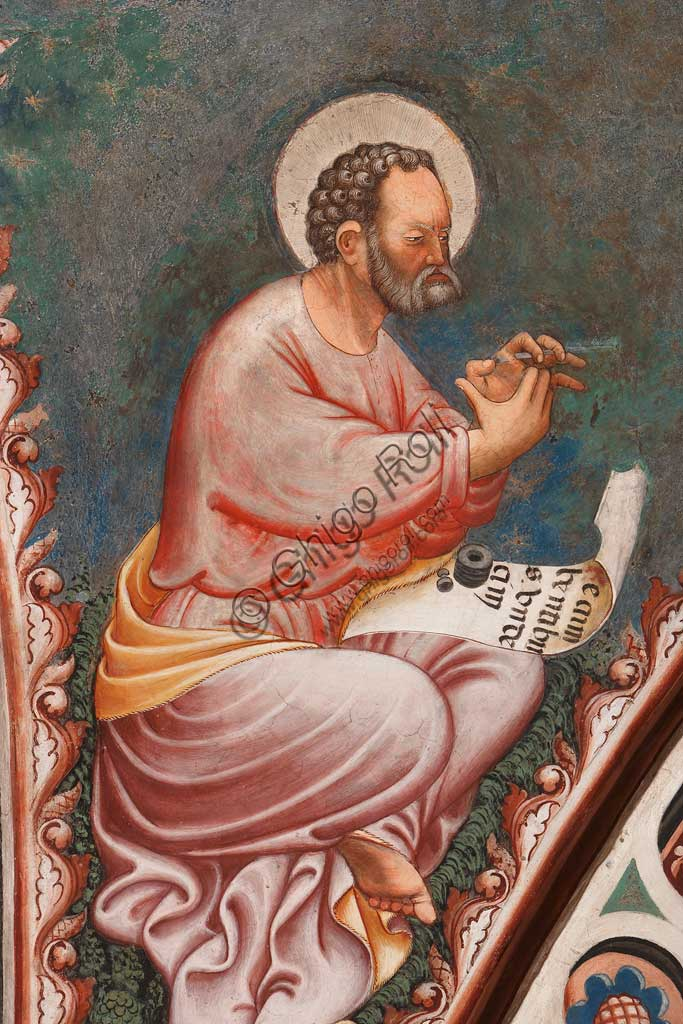 "Vignola Stronghold, the Contrari Chapel, Eastern wall:  ""St. Mark the Evangelist"", writing  ""Recumbentibus undecim"". Fresco by the Master of Vignola, about 1420."