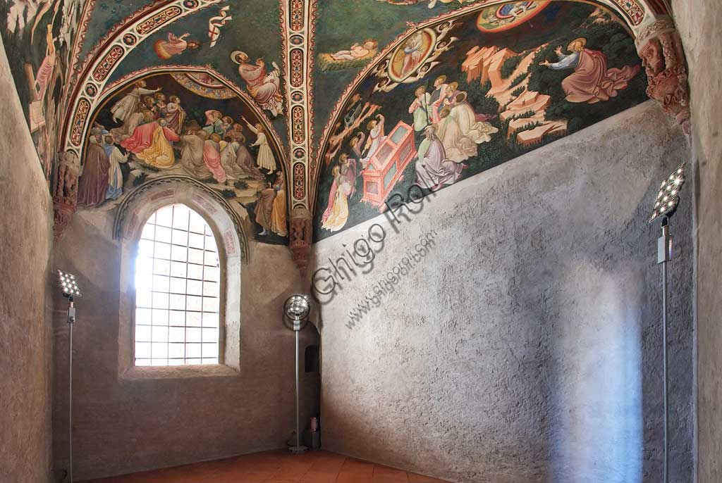 Vignola Stronghold, the Contrari Chapel: view of the chapel with frescoes by the Master of Vignola, about 1420.