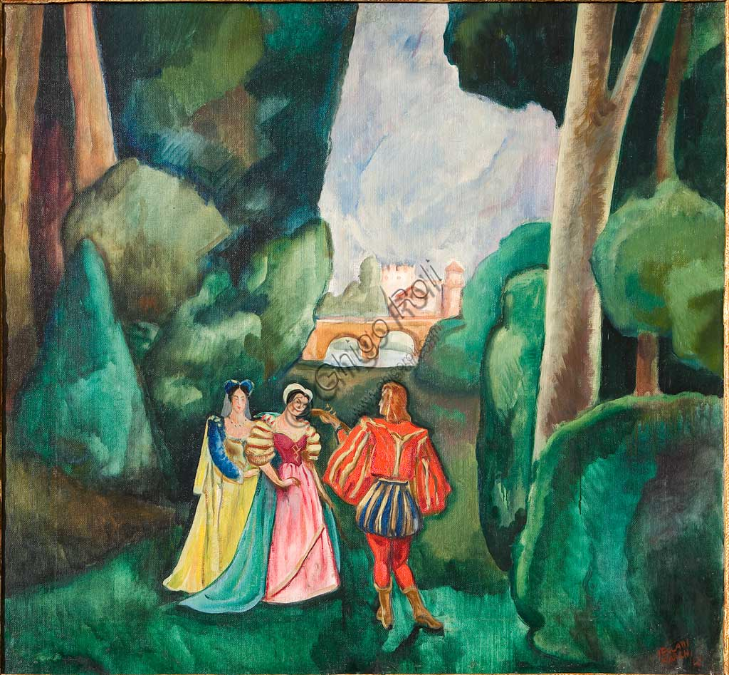 """Assicoop - Unipol Collection: Mario Vellani Marchi (1895-1979), """"Amourous Scene in Medieval Landscape"""". Oil on canvas, cm. 92x100."""