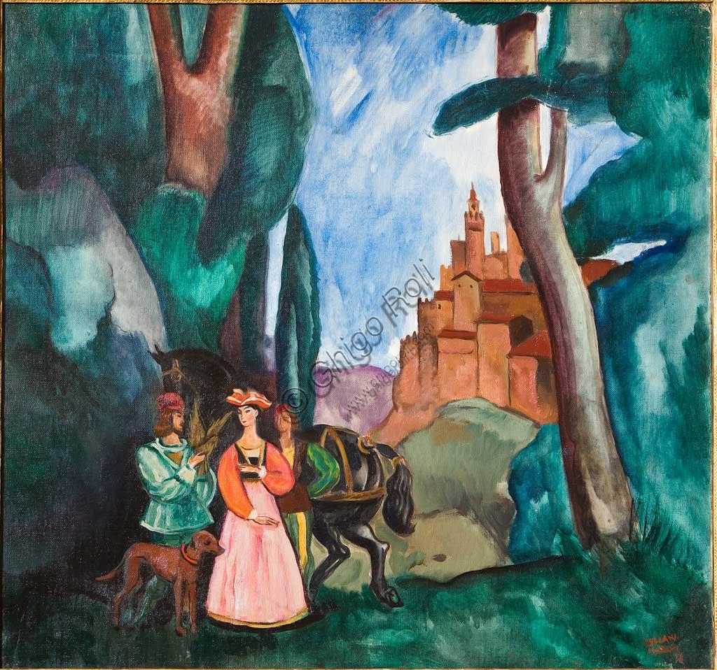 """Collezione Assicoop - Unipol: Mario Vellani Marchi (1895-1979), """"Falconiere con Dama in Paesaggio Medioevale"""". Olio su tela, cm. 92x100."""