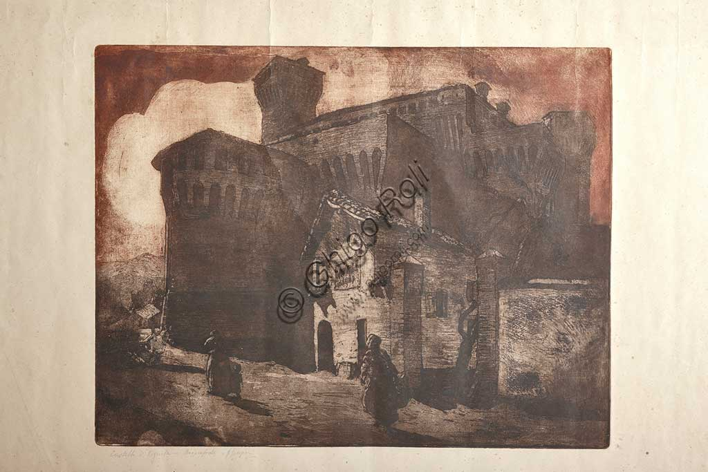"Assicoop - Unipol Collection: Giuseppe Graziosi (1879-1942), ""The Castle of Vignola"", etching and aquatint on paper, plate."