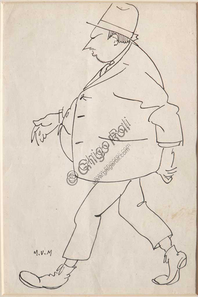 "Assicoop - Unipol Collection: Mario Vellani Marchi (1895-1979), ""The accountant Vittorio Formiggini"". Black ink on paper."