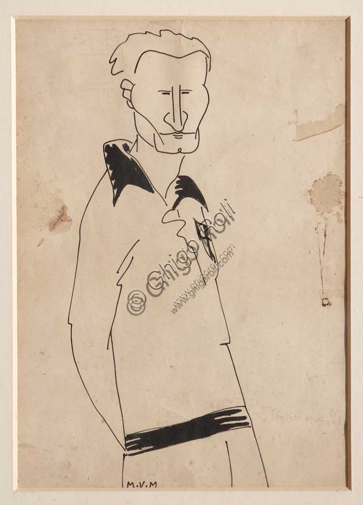 "Assicoop - Unipol Collection: Mario Vellani Marchi (1895-1979), ""Fausto Boni"". Black ink on paper."