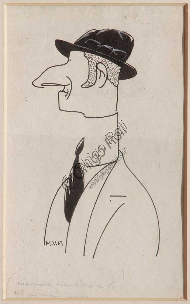 """Assicoop - Unipol Collection: Mario Vellani Marchi (1895-1979), """"Virile profile with bowler"""". Black ink and white watercolour on paper."""