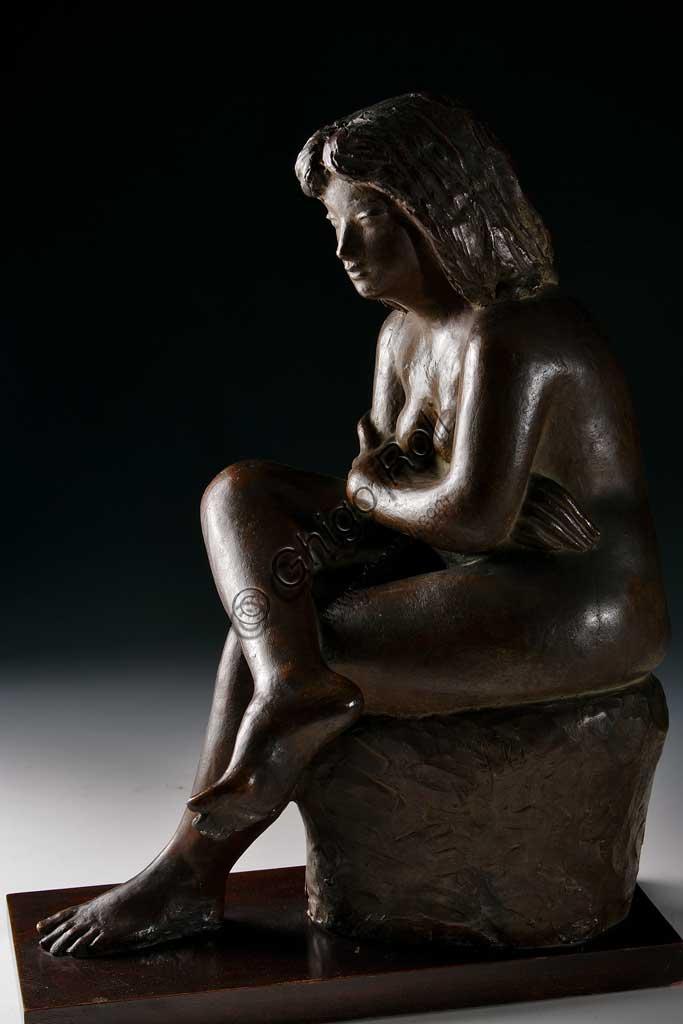 "Collezione Assicoop - Unipol: Ivo Soli (1898-1976), ""Donna seduta"". Bronzo."