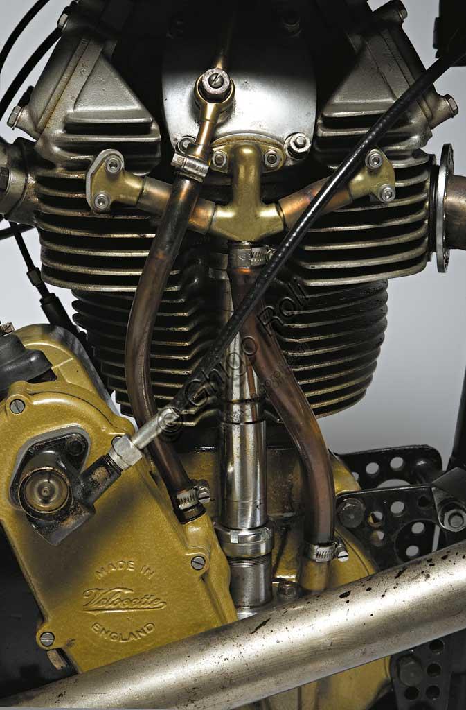 Ancient Motorbike Velocette K TT Mk VIII. Engine.