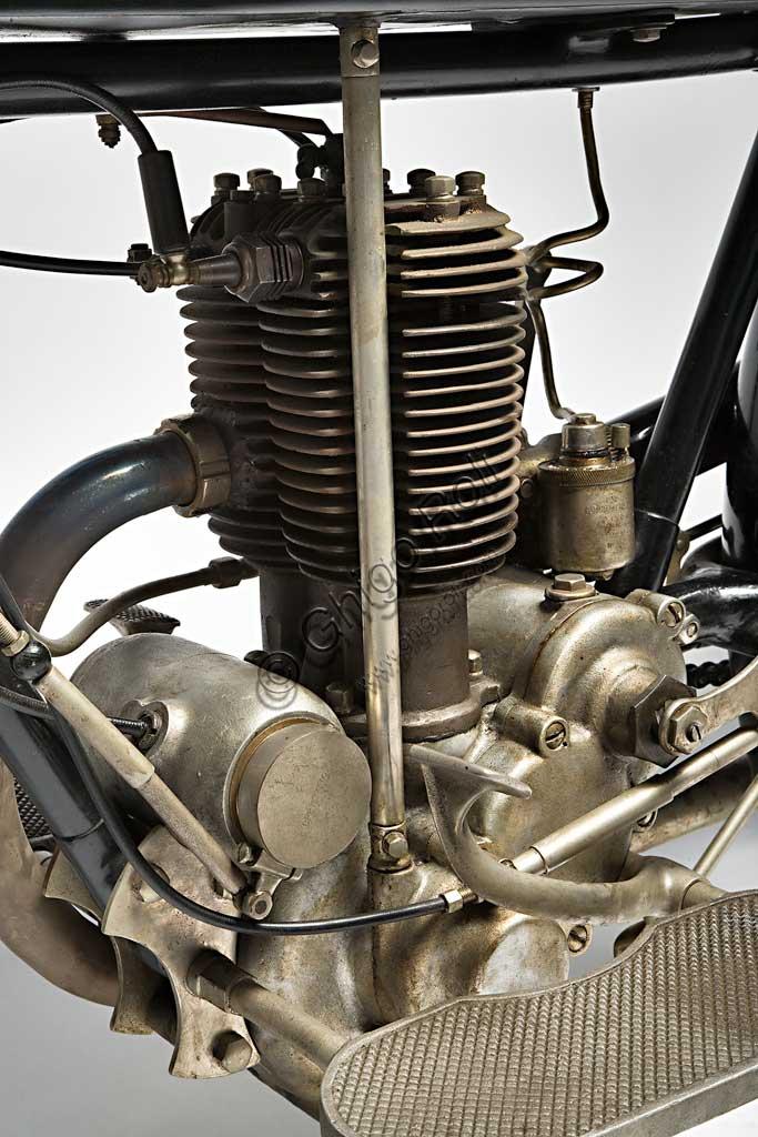 Ancient Motorbike Garelli Turismo 350. Engine.
