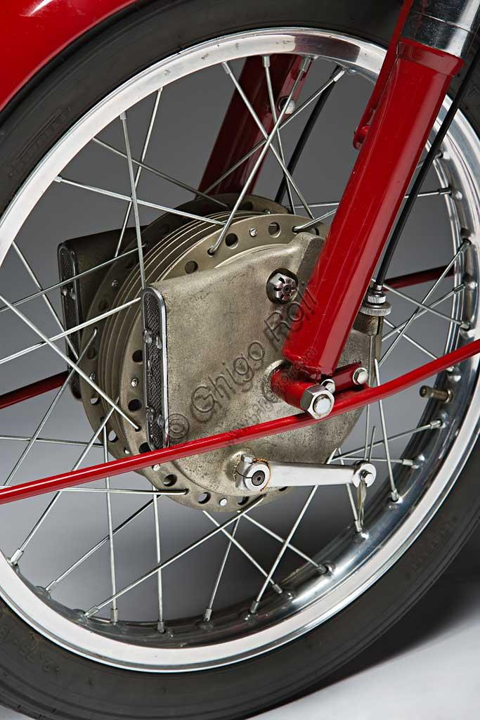 Ancient Motorbike Motobi Gran Sport 250 GSS. Wheel.