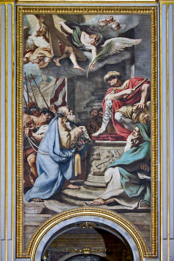 """Basilica of St Andrew della Valle, paintings above the passages of the antechoir, frescoes representing episodes from the life of S. Andrew: """"Condemnation of the Saint pronounced by Egea"""". Fresco by Carlo Cignani and Emilio Taruffi, realised after 1662."""