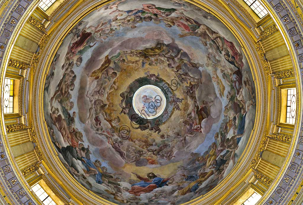 """Basilica of St Andrew della Valle: the dome vault with """"Glory of Paradise"""", fresco by Giovanni Lanfranco, 1625 - 28."""