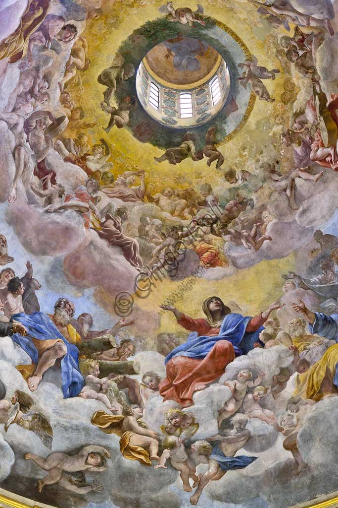 """Basilica of St Andrew della Valle: the dome vault with """"Glory of Paradise"""", fresco by Giovanni Lanfranco, 1625 - 28. Detail."""