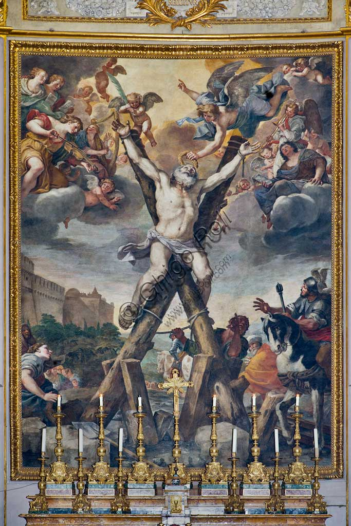 """Basilica of St Andrew della Valle, walls of the choir: frescoes with episodes from the life of St. Andrew: """"Crucifixion of the Saint"""". Fresco by Mattia Preti, 1650 - 51."""