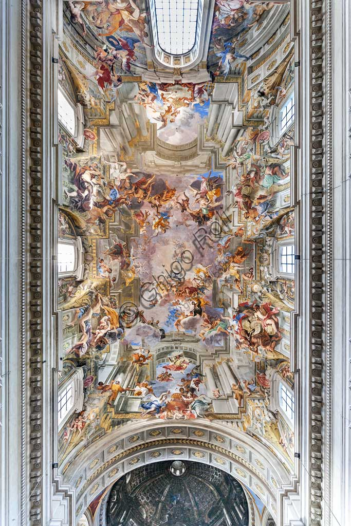 """Rome, S. Ignazio Church, interior: view of the vault of the nave decorated with the fresco """"Glory of St. Ignatius"""", by Andrea Pozzo, 1685."""