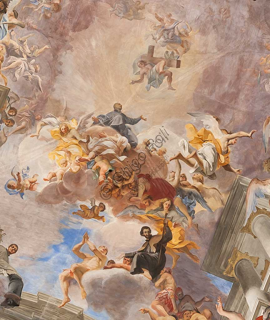 """Rome, S. Ignazio Church, interior: view of the vault of the nave decorated with the fresco """"Glory of St. Ignatius"""", by Andrea Pozzo, 1685. Detail."""