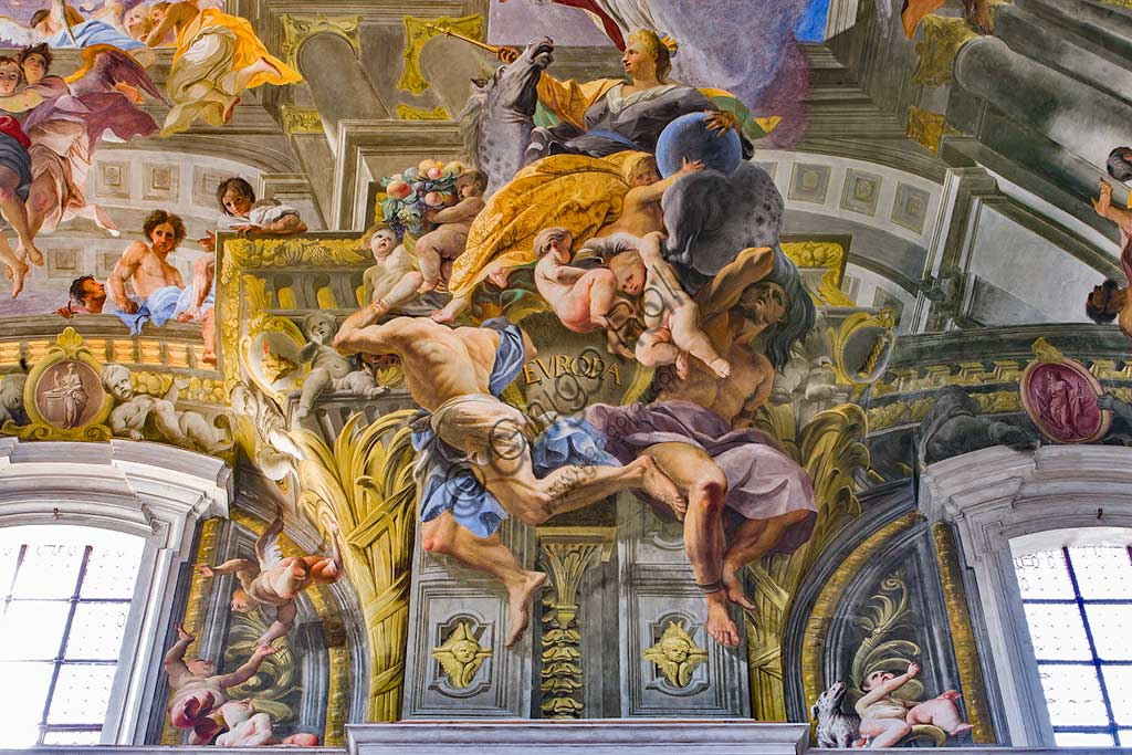 """Rome, S. Ignazio Church, interior: detail of one of the pendentives of the vault of the nave with allegories of the continents: """"Europe"""", fresco by Andrea Pozzo, 1685."""