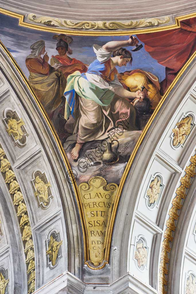 "Rome, S. Ignazio Church, interior: detail of one of the pendentives of the false dome of the transept: ""Jael killing Sisera "", fresco by Andrea Pozzo, 1685."