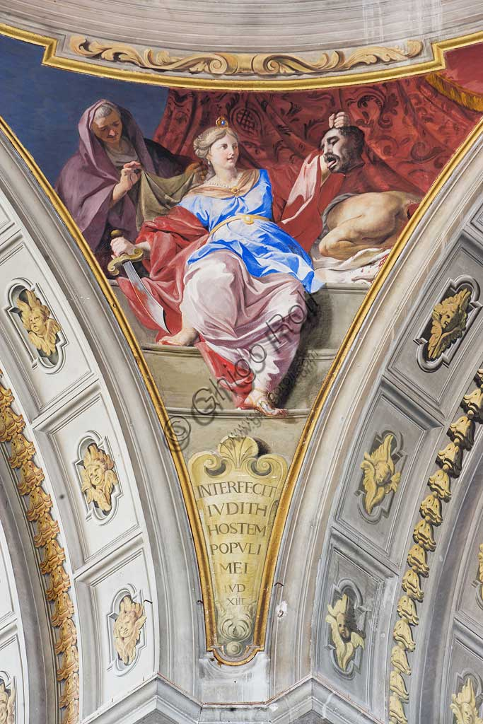 """Rome, S. Ignazio Church, interior: detail of one of the pendentives of the false dome of the transept: """"Judith killing Holofernes """", fresco by Andrea Pozzo, 1685."""