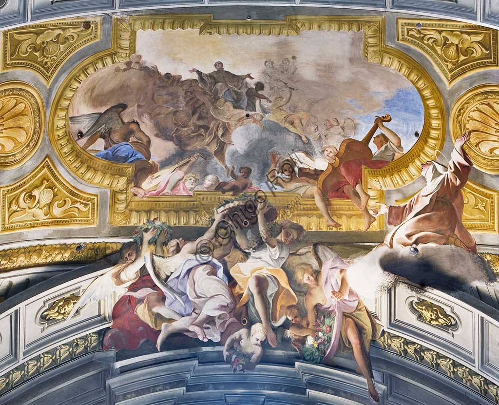 "Rome, S. Ignazio Church, interior, transept: ""St. Mary Magdalene de' Pazzi having the vision of St. Aloysius de Gonzaga in glory"", fresco by Andrea Pozzo, 1685."