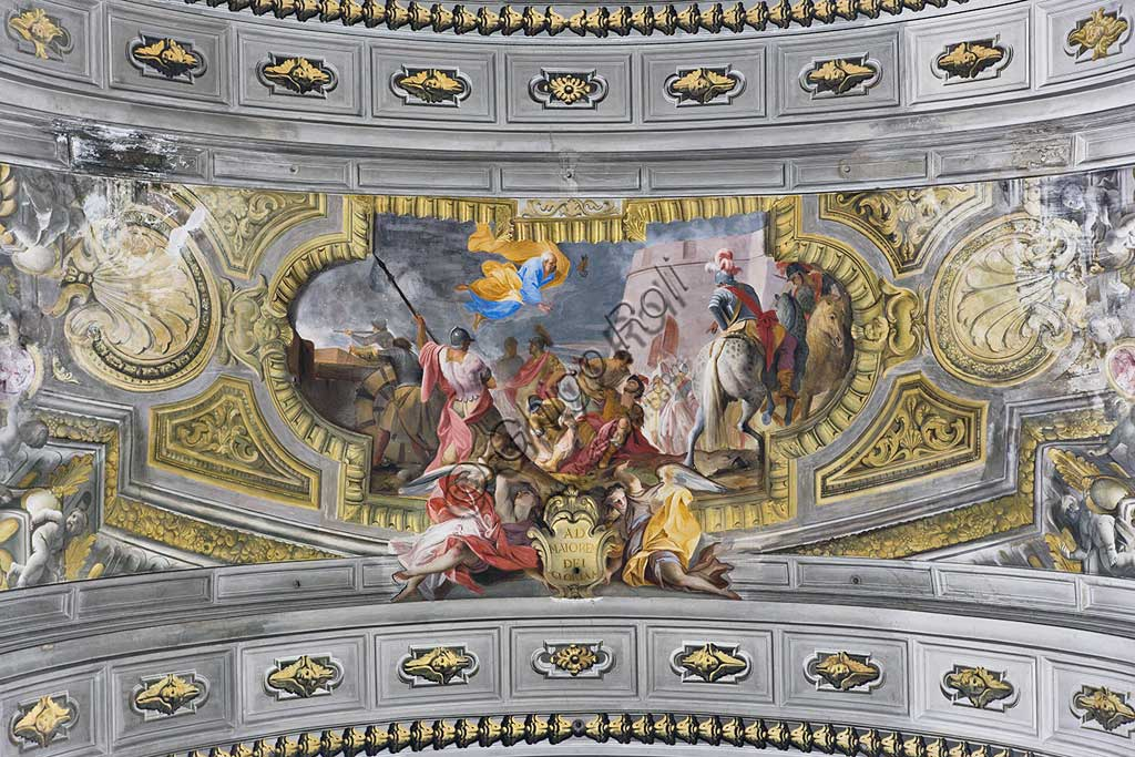 """Rome, S. Ignazio Church, interior, the vault of the antechoir: """"Vision of St. Ignatius during the battle of Pamplona"""", fresco by Andrea Pozzo, 1685."""