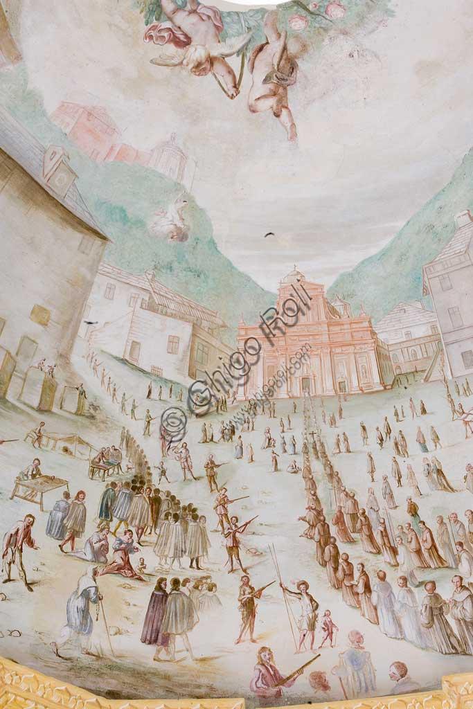 Savona,  Località Santuario, Santuario di Nostra Signora Madonna della Misericordia: the Chapel of Crocetta.  Detail of the vault  with a bird-eye perspective of the Sanctuary. Frescoes by Bartolomeo Guidobono ed Enrico Haffner, 1679 - 1680.