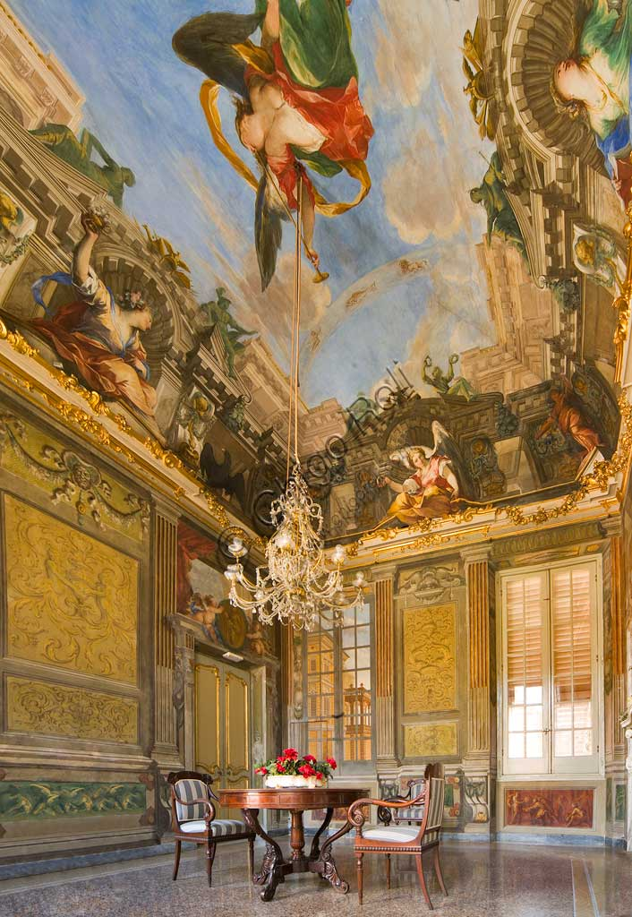 "Genoa, Palazzo Reale (former Palazzo Balbi Durazzo):  Hall of the Fame of the Balbi Family: the vault with ""Allegory of the Fame and Allegorical Figures"", fresco by Valerio Castello and Giovanni Maria Mariani, 1755.World Heritage UNESCO."
