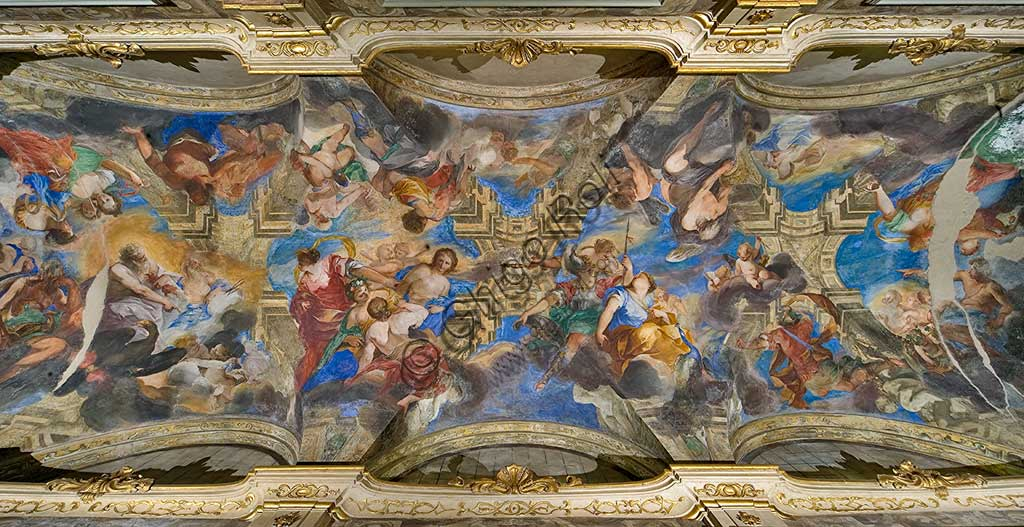 "Genoa, Palazzo Balbi Senarega, the Loggia, the vault: fresco ""Olympian Divinities"" and ""The Rape of Proserpina"" by Valerio Castello e Andrea Sighizzi.World Heritage UNESCO."
