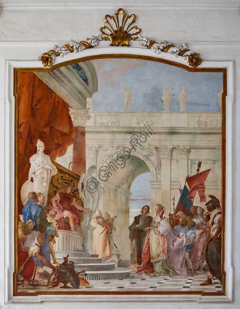 """Villa Cordellina, salone centrale: """"Magnanimità di Scipione l'Africano"""", affresco di Giambattista Tiepolo, 1743."""