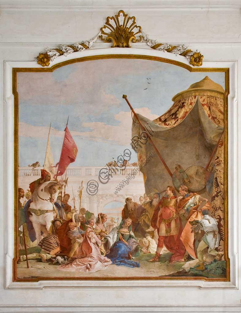 """Villa Cordellina, salone centrale: """"Continenza di Alessandro Magno"""" affresco di Giambattista Tiepolo (1743)."""