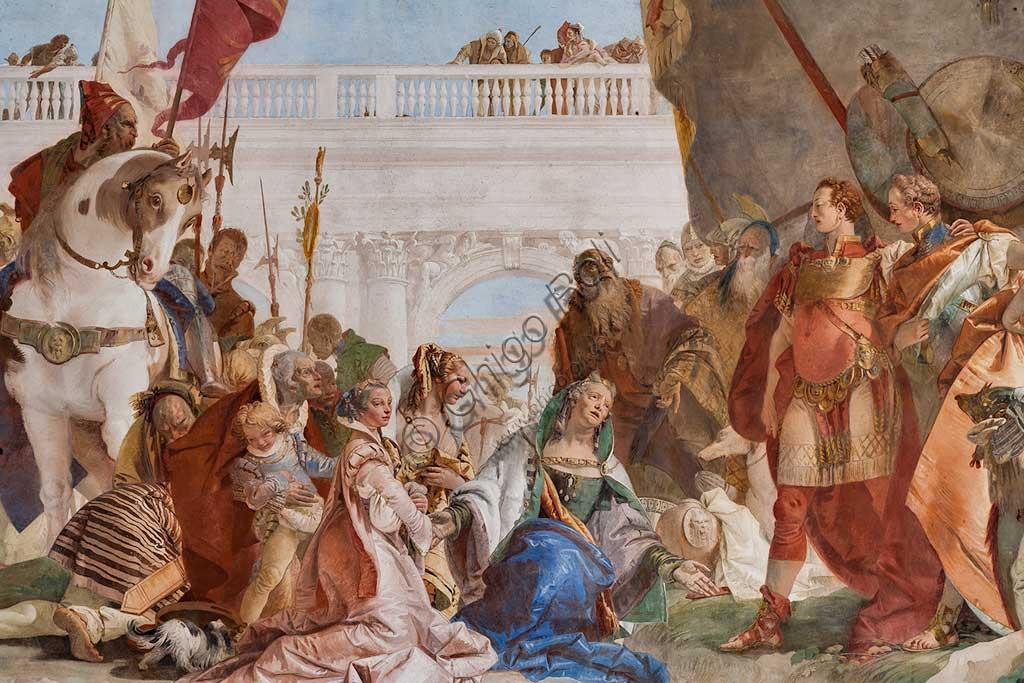 """Villa Cordellina, salone centrale: """"Continenza di Alessandro Magno"""", affresco di Giambattista Tiepolo, 1743. Particolare."""