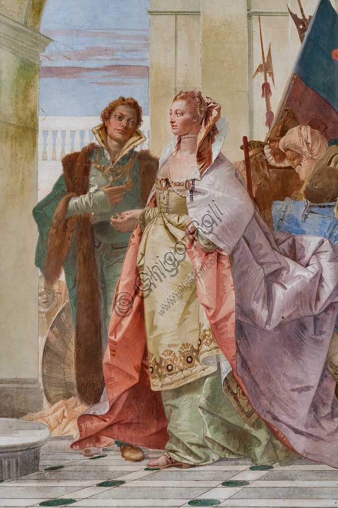 """Villa Cordellina, salone centrale: """"Magnanimità di Scipione l'Africano"""", affresco di Giambattista Tiepolo, 1743. Particolare."""