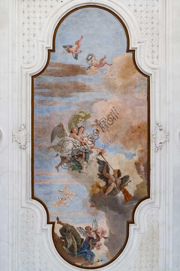 """Villa Cordellina, salone centrale, il soffitto:  """"La luce dell'intelligenza vince le tenebre dell'ignoranza"""",  affresco di Giambattista Tiepolo, 1743."""