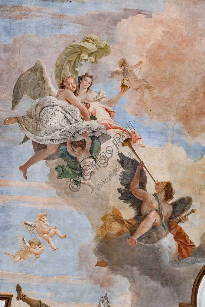 """Villa Cordellina, salone centrale, il soffitto:  """"La luce dell'intelligenza vince le tenebre dell'ignoranza"""",  affresco di Giambattista Tiepolo, 1743.  Particolare con angelo musicante."""