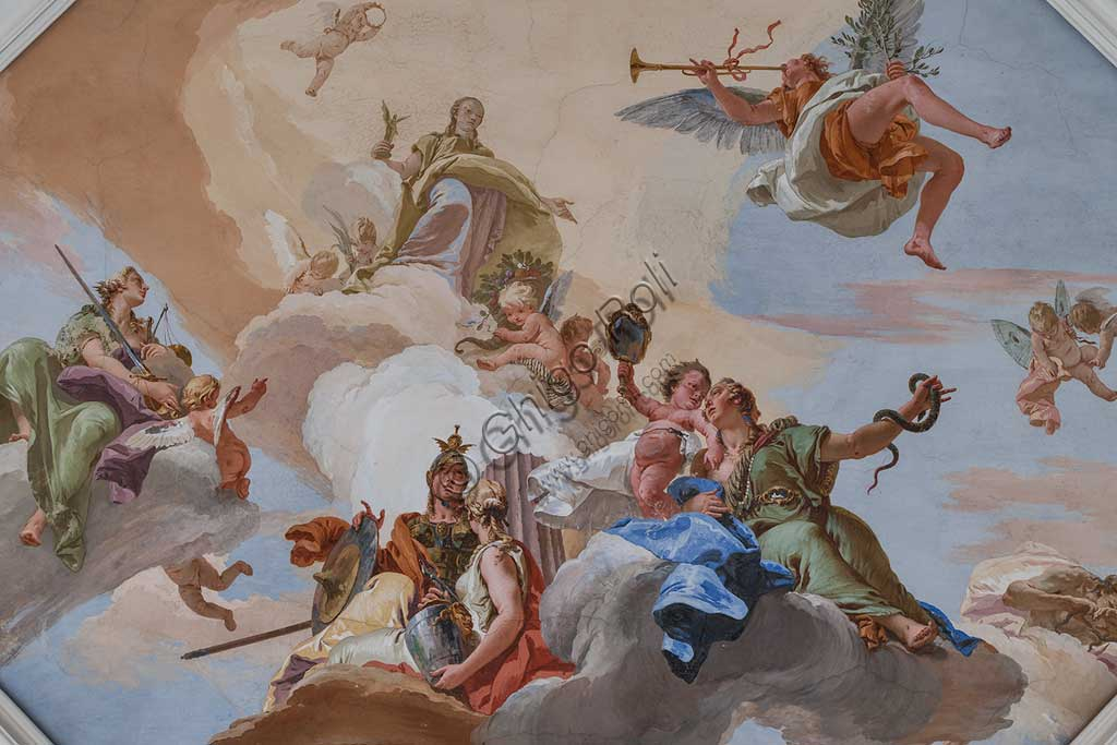 "Villa Loschi  Motterle (formerly Zileri e Dal Verme), the hall of honour, the ceiling: ""The Glory among the Virtues"" (the Fame, with the trumpet, announces the arrival of the Glory, aluminous and golden figure. She is surrounded by the Justice with a sword and a scale, the Fortress with an armour, the Temperance and the Prudence which has two faces), fresco by Giambattista Tiepolo (1734)."
