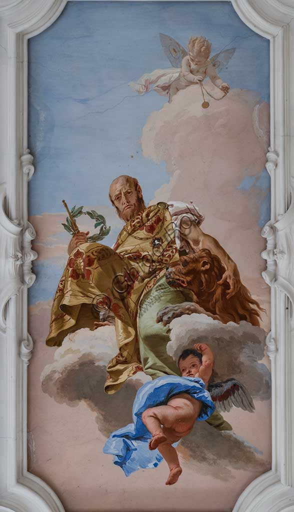 "Villa Loschi  Motterle (formerly Zileri e Dal Verme), the hall of honour, the ceiling: ""Allegory of the Valour"", fresco by Giambattista Tiepolo (1734)."