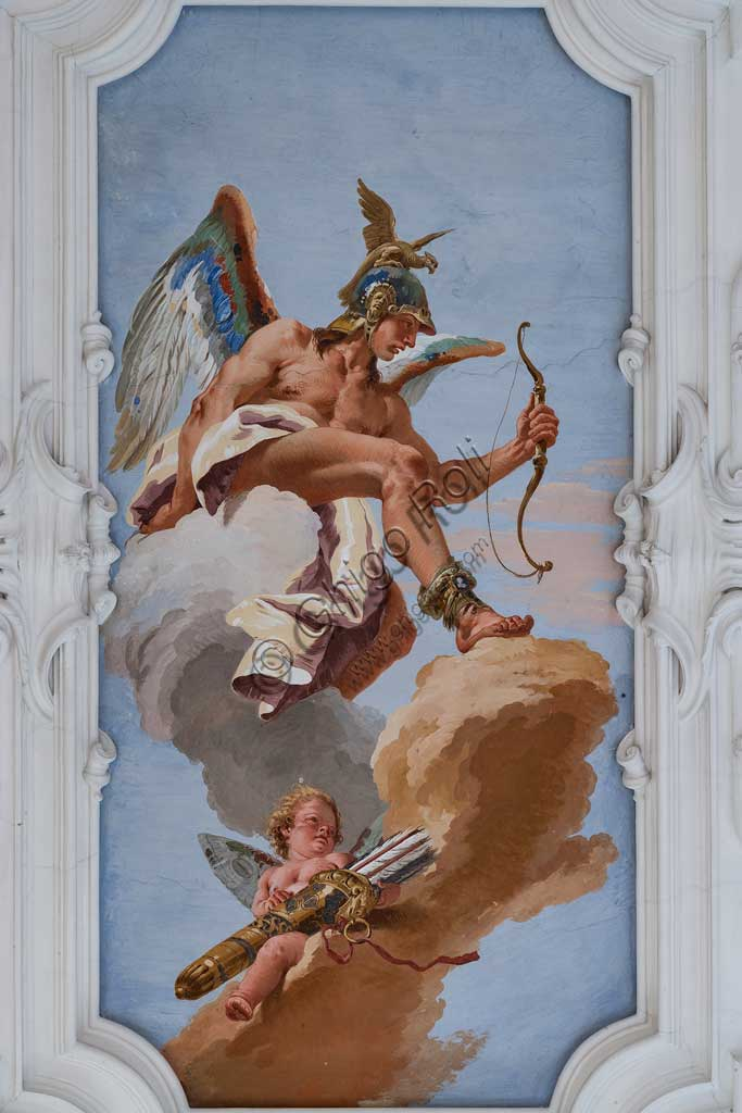 "Villa Loschi  Motterle (formerly Zileri e Dal Verme), the hall of honour, the ceiling: ""Allegory of the Talent"", fresco by Giambattista Tiepolo (1734)."