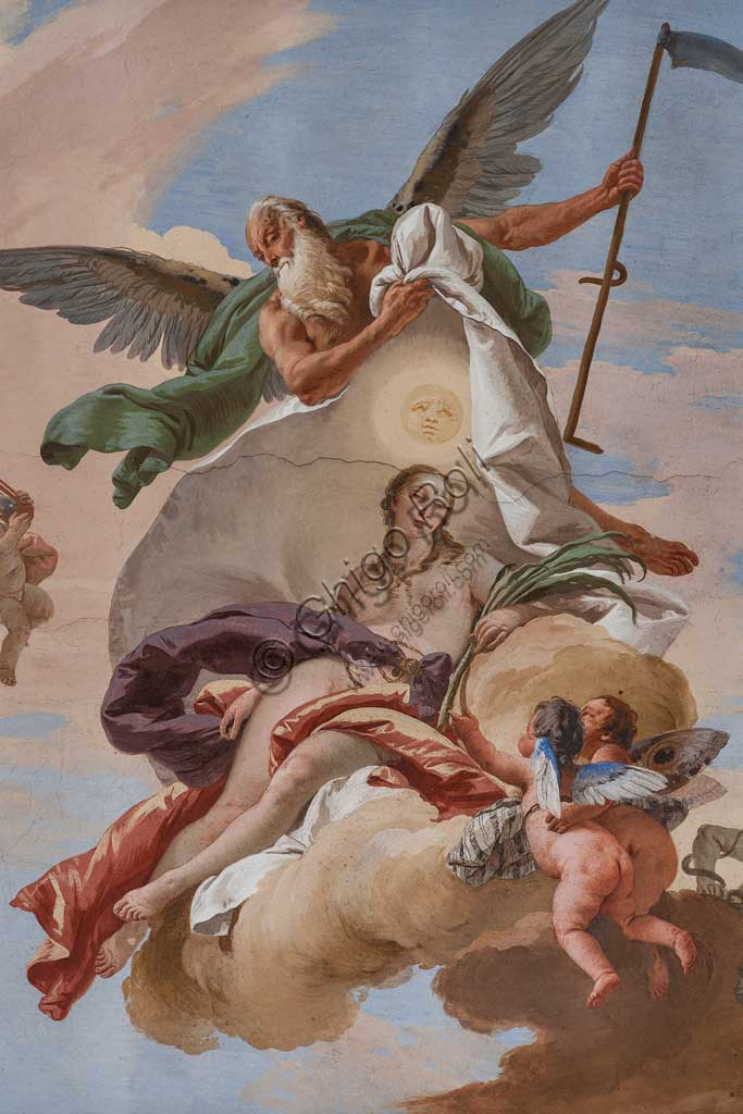 "Villa Loschi  Motterle (formerly Zileri e Dal Verme),the staircase, the ceiling: ""Time discovers the Truth"", allegorical fresco by Giambattista Tiepolo (1734). Detail."