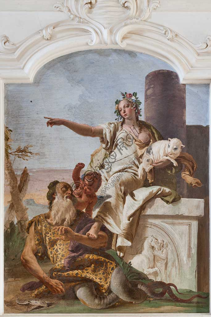 "Villa Loschi  Motterle (formerly Zileri e Dal Verme), the hall of honour: ""Innocence sending away Deceit"", allegorical fresco by Giambattista Tiepolo (1734)."
