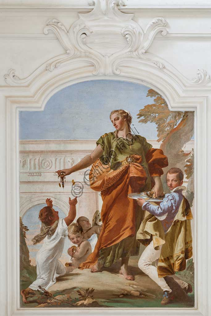 "Villa Loschi  Motterle (formerly Zileri e Dal Verme), the hall of honour: ""Generosity distributing gifts "", allegorical fresco by Giambattista Tiepolo (1734)."