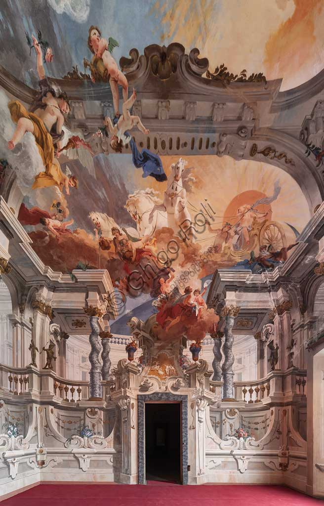 "Villa Crivelli (formerly Arconati): view of the Hall of the Parties. The fresco paintings representing ""The Charriot of the Sun"" is by Bernardo and Fabrizio Galliari, 1750 - 1760."