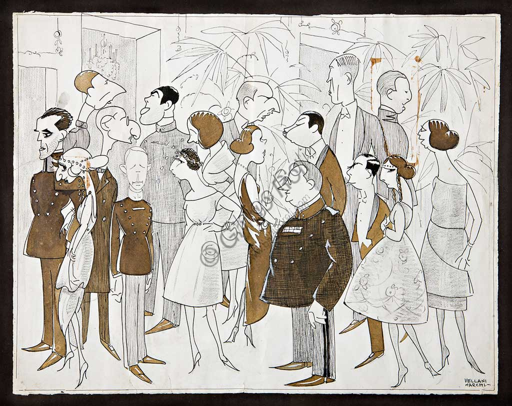 """Assicoop - Unipol Collection: Mario Vellani Marchi, """"The Second Party at the Military School"""", (1922). Black ink and watercolour on paper, cm 47,5 X 66,5."""