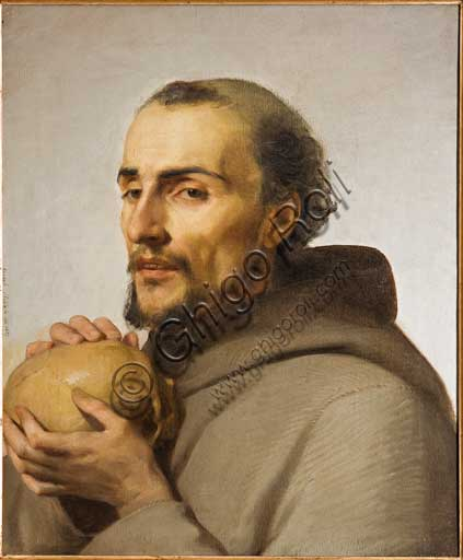 """Assicoop - Unipol Collection: Adeodato Malatesta (1806-1891), """"St. Francis"""". Oil on canvas, cm 55 x 44,5."""