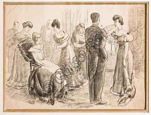 "Assicoop - Unipol Collection: Mario Vellani Marchi (1895 - 1979), ""Party in Society"". Disegno a matita, cm 31 X 41."