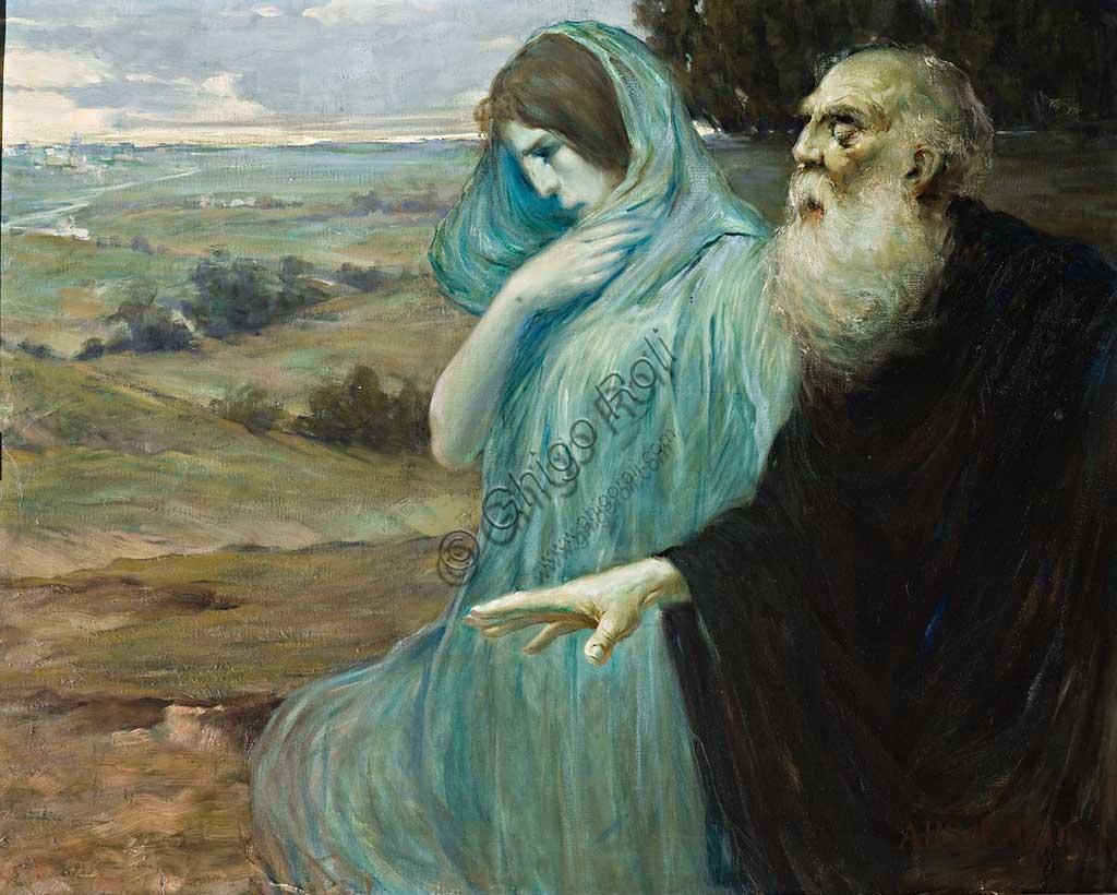 "Assicoop - Unipol Collection: Mario Vellani Marchi (1895 - 1979), ""Aymone leading blind Oedipus"". Oil painting, cm 90 X 120."