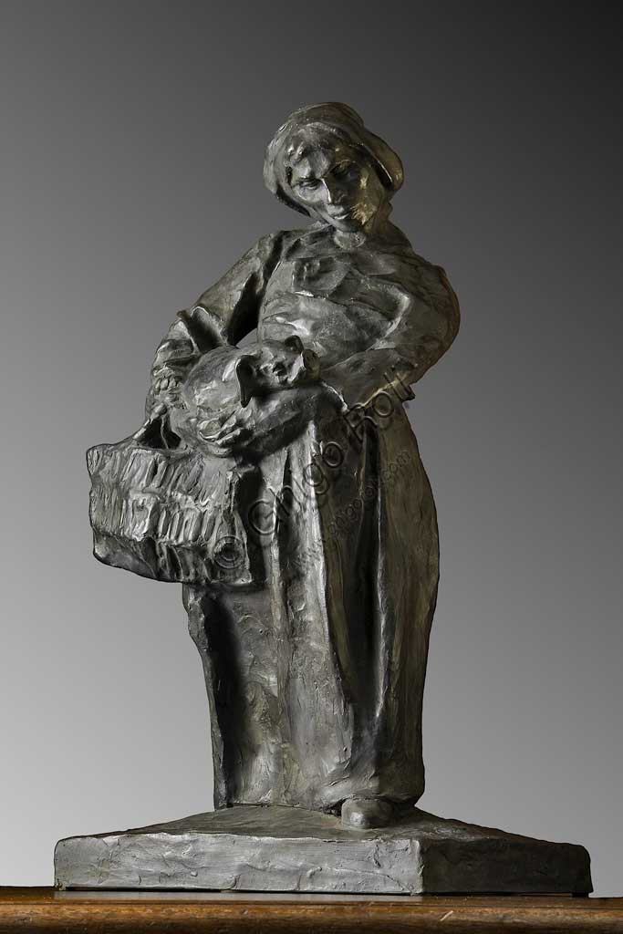 "Assicoop - Unipol Collection: Giuseppe Graziosi, ""Female Peasant with a pig"", bronze."