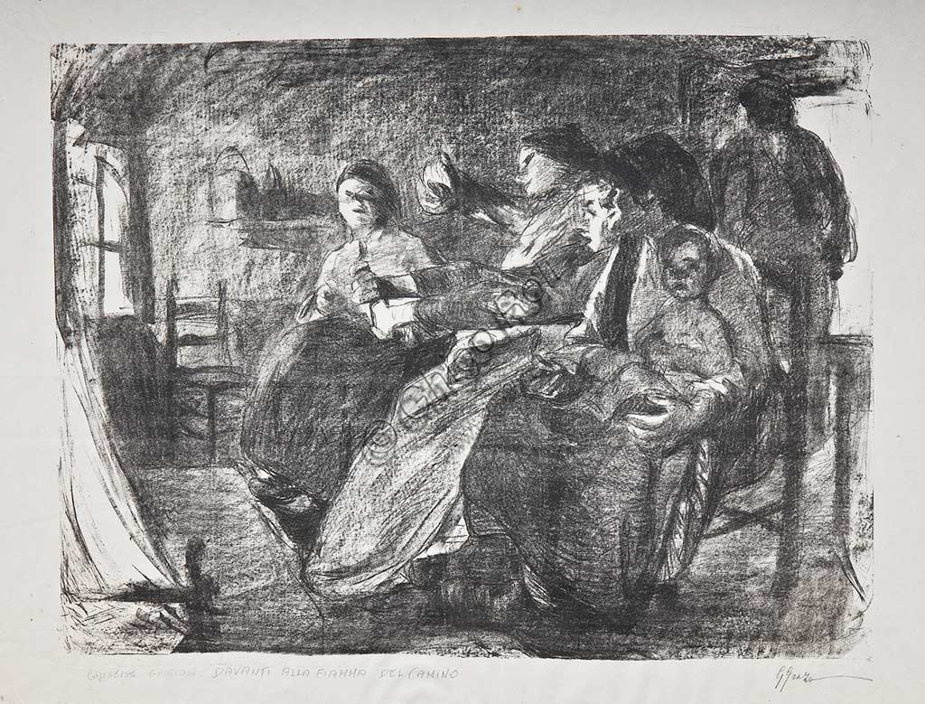 "Assicoop - Unipol Collection:  Giuseppe Graziosi  (1879-1942), ""Women in an Interior"", lithograph."
