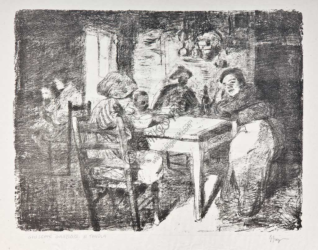 "Assicoop - Unipol Collection:  Giuseppe Graziosi  (1879-1942), ""A Family in the Kitchen"", lithograph."