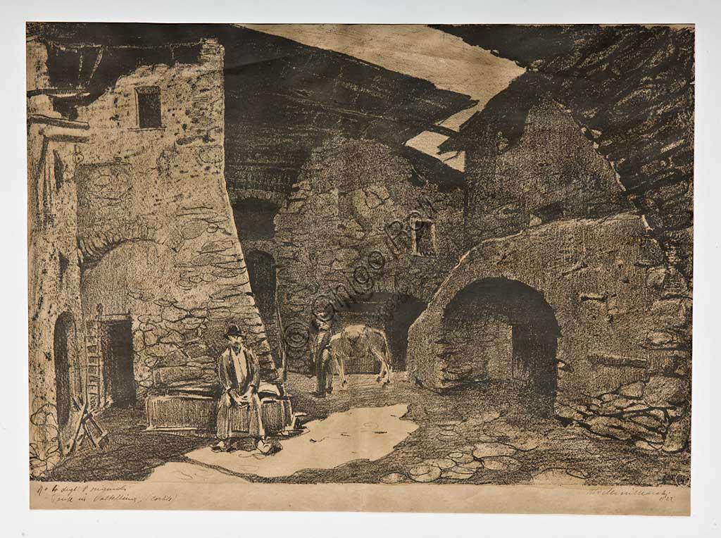"""Assicoop - Unipol Collection: Mario Vellani Marchi (1895 - 1979), """"A Bridge in Valtellina"""", Lithograph."""