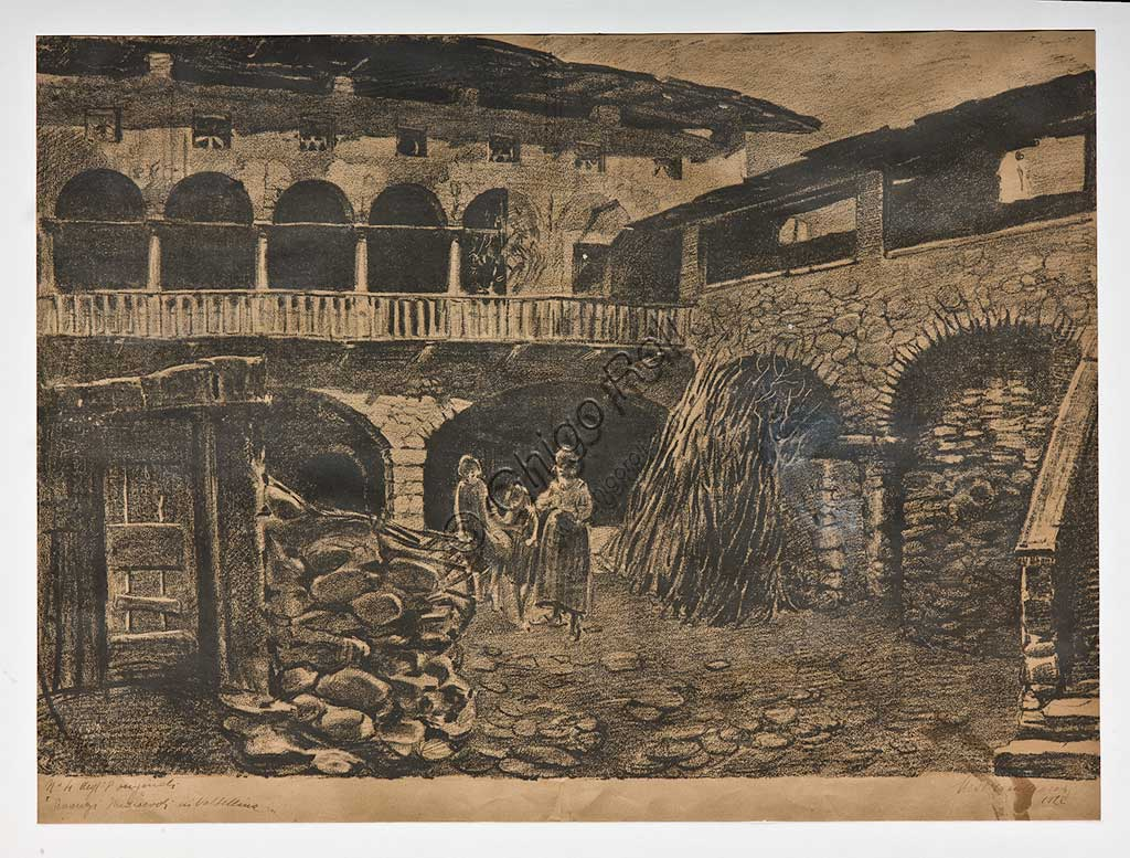 """Assicoop - Unipol Collection: Mario Vellani Marchi (1895 - 1979), """"Medieval Ruins in Valtellina"""", Lithograph."""